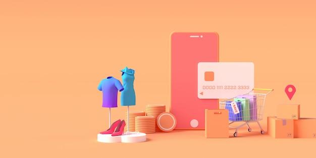 Representación 3d del teléfono inteligente con tarjeta de crédito