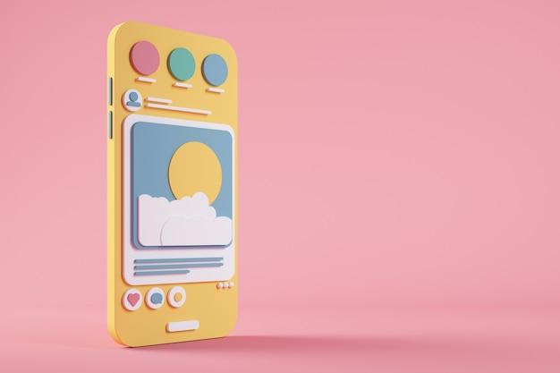 Representación 3d de teléfono móvil de dibujos animados de redes sociales