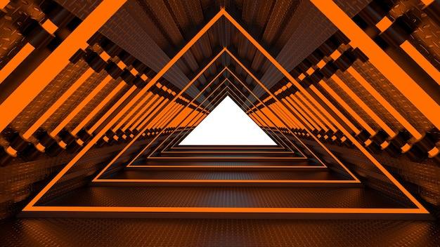 Representación 3d del tema abstracto de ciencia ficción en estilo geométrico, iluminación abstracta en el pasillo