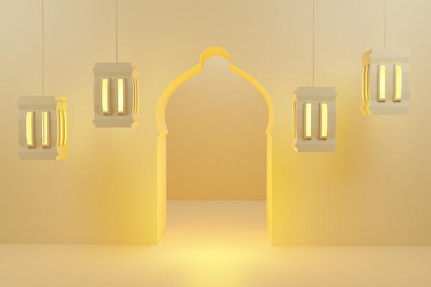 Representación 3d tema de ramadán de fondo mínimo con pantalla de linternas