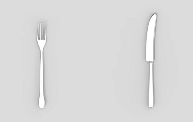 Representación 3d tenedor y cuchillo de plata sobre fondo gris vacío.