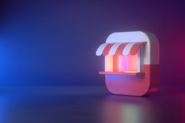 Representación 3d de tienda y aplicación.