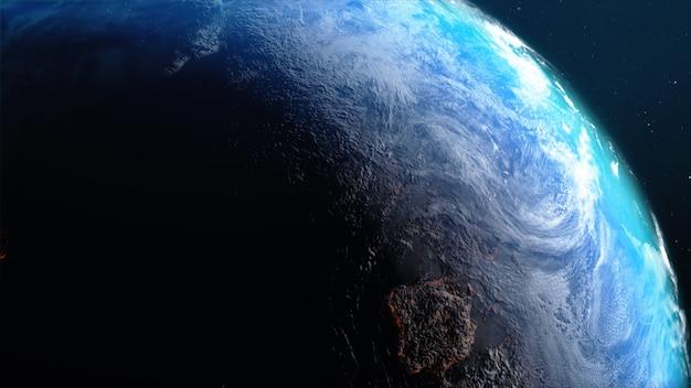 Representación 3d de la tierra con un mapa mundial de nubes de terreno caliente y agua contra el espacio con imagen procesada de ruido y grano proporcionada por la nasa
