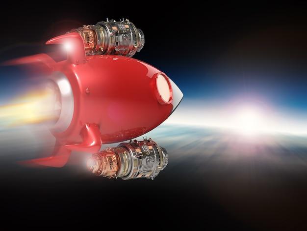 Representación 3d del transbordador espacial rojo en el espacio
