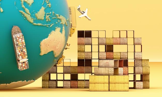 Representación 3d de transporte de contenedores de carga en todo el mundo