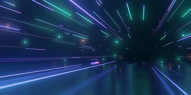 Representación 3d del túnel futurista con luces de neón
