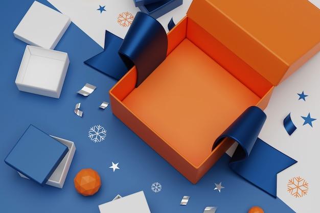 Representación 3d unboxing cajas de regalo. abra la caja de regalo vacía y accesorios, concepto de compras en línea.