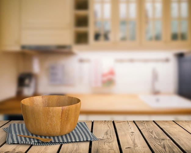 Representación 3d de utensilios de cocina en mostrador de madera con fondo borroso de cocina