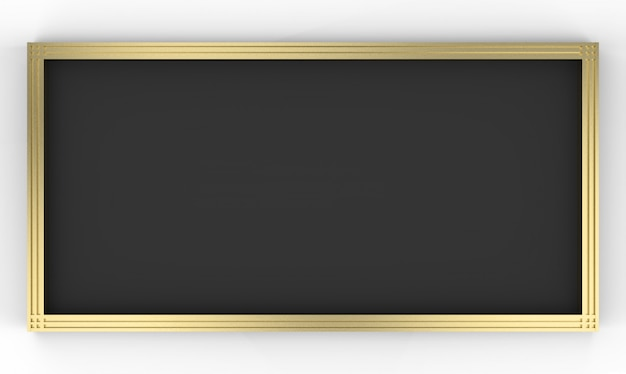 Representación 3d vacie el marco de oro del tablero negro de la forma del rectángulo en fondo gris.