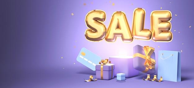 Representación 3d de venta de promoción con venta de palabra, regalos, bolsa de compras y tarjeta de crédito sobre fondo púrpura. representación 3d