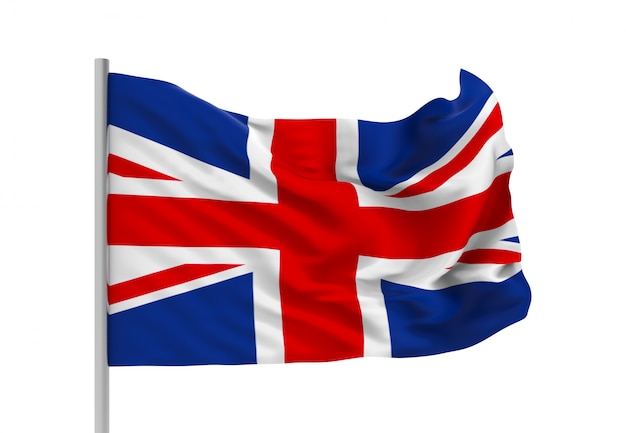 Representación 3d ventoso que fluye la bandera nacional de reino unido con trazado de recorte