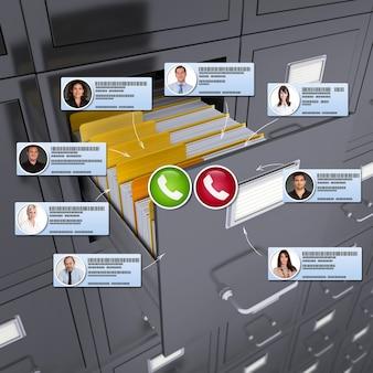 Representación 3d de una videoconferencia que tiene lugar en un entorno de archivos empresariales