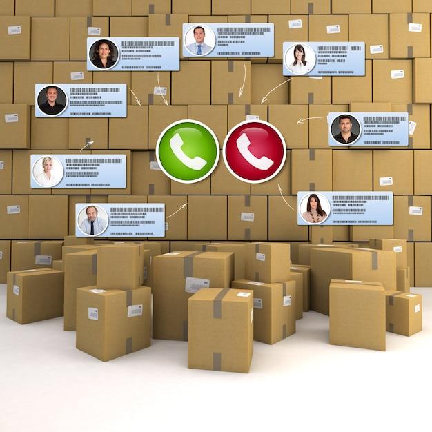 Representación 3d de una videoconferencia que tiene lugar en un lugar lleno de cajas de cartón
