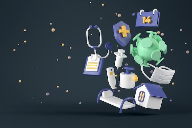 Representación 3d de virus y protección.