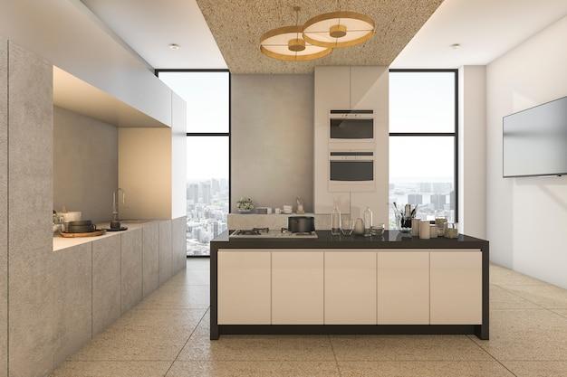 Representación 3d vista agradable de la ciudad desde la cocina y comedor en condominio