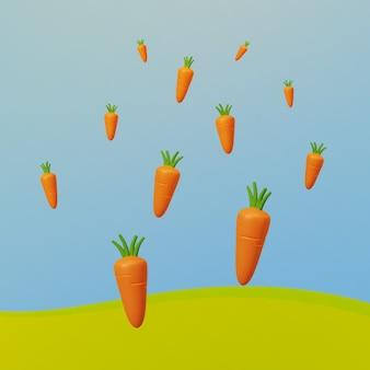 Representación 3d de zanahorias flotando sobre el campo