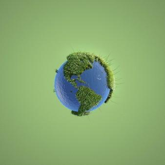 Representación abstracta del entorno sobre fondo verde