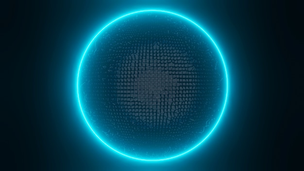 Representación de anillo de brillo azul y negro liso 3d