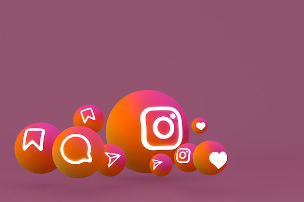 Representación del conjunto de iconos de instagram sobre fondo marrón