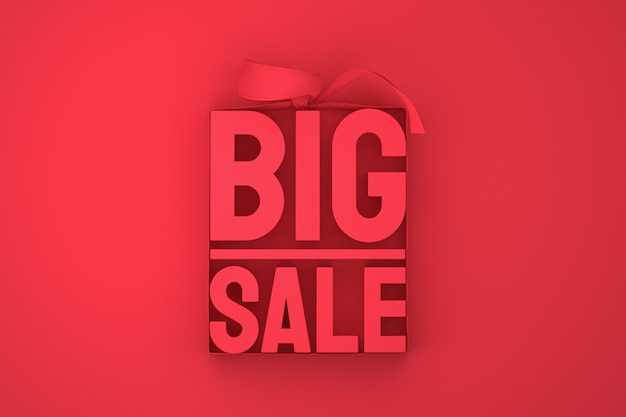 Representación de diseño 3d de gran venta roja para promoción de venta con arco y cinta sobre fondo rojo aislado
