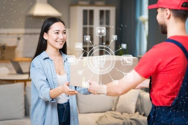 Representación de entrega de compras en línea