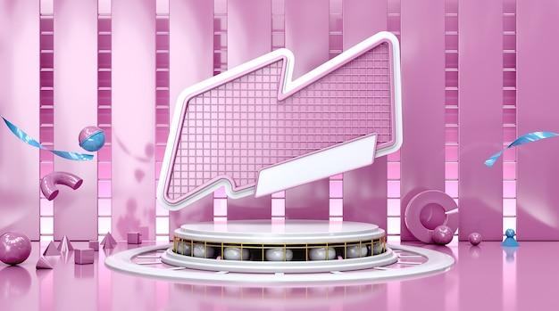Representación de la escena geométrica abstracta con tablero púrpura para mostrar el producto