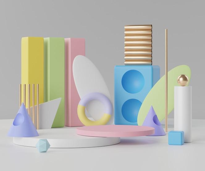 Representación de una escena de podio vacía mínima con formas geométricas para la presentación de productos.