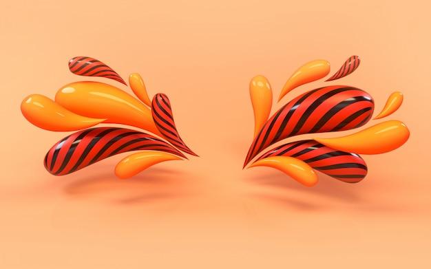 Representación del fondo 3d del bastidor colorido líquido colorido de las gotas.