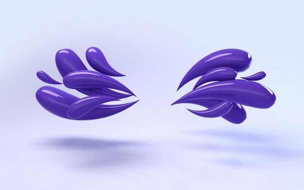 Representación del fondo 3d de gotas púrpuras brillantes líquidas coloridas
