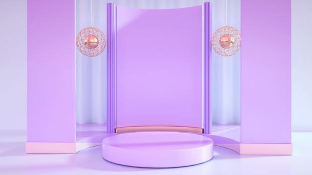 Representación del fondo del escenario púrpura con un pedestal simple para mostrar el producto