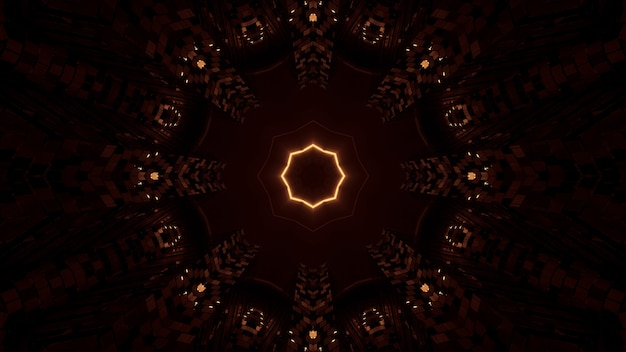 Representación de fondo futurista abstracto con brillantes luces de neón naranja