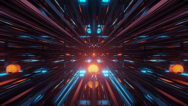 Representación de fondo futurista abstracto con luces de neón azul-verde y naranja brillantes
