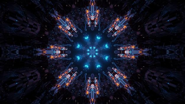 Representación de fondo futurista abstracto con luces de neón brillantes