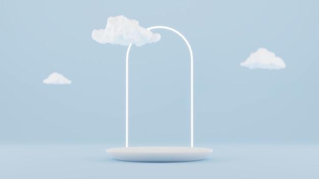 Representación de formas geométricas 3d en escaparate de podio de escena mínima, escaparate, vitrina de maqueta de exhibición y escenario para la colocación de presentación de producto cosmético premium con espacio en blanco vacío.