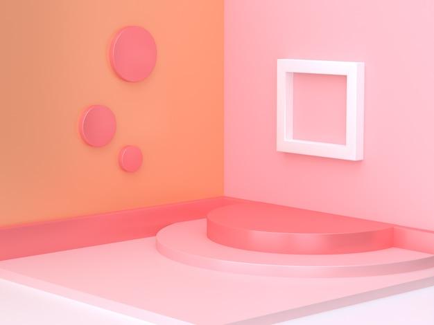 Representación geométrica abstracta mínima de la forma 3d de la escena anaranjada rosada de la esquina 3d