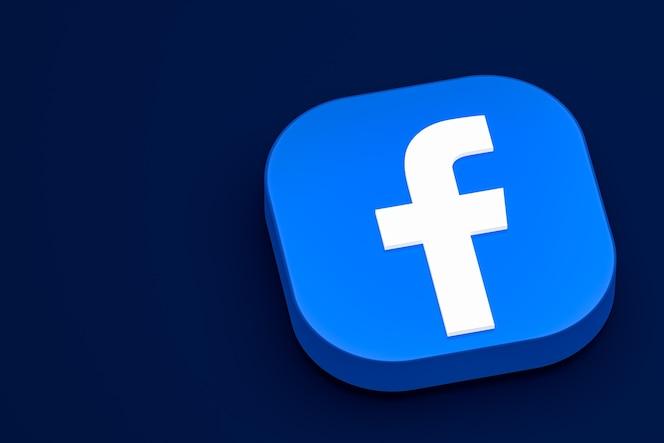 Representación del icono 3d del logotipo de facebook