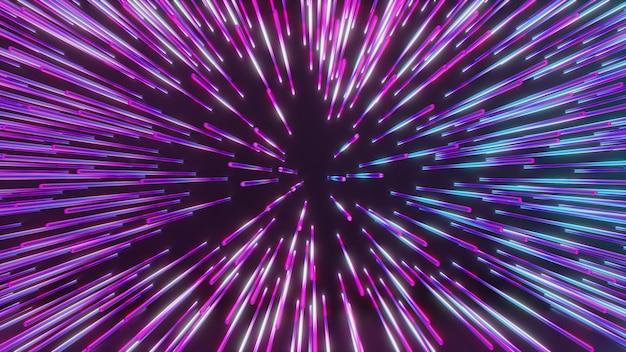 Representación de la ilustración 3d. forma de línea de luz de neón de color de efecto de zoom en vista en perspectiva. conceptos futuristas y tecnológicos