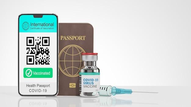 Representación de la ilustración 3d de la pantalla del certificado internacional de vacunación móvil de smartphone código qr de muestra texto vacunado y libro de pasaportes y botella de vacuna sobre fondo blanco