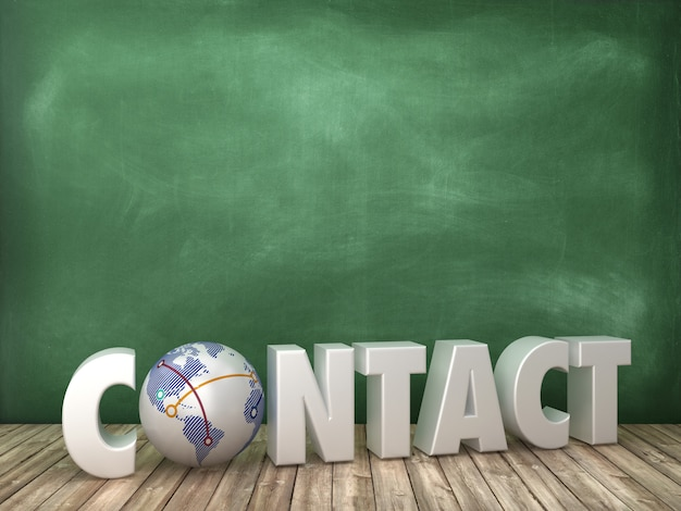 Representación de la ilustración de contact word con globe world en la pizarra