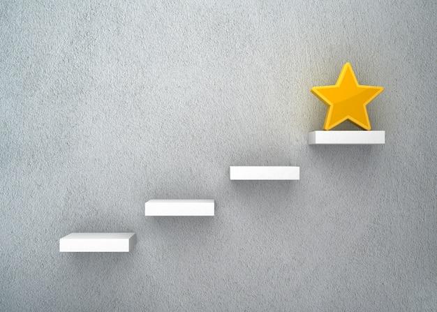 Representación de ilustración de pasos con estrella en la pared azul