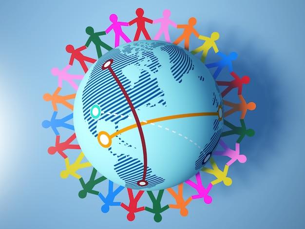 Representación de la ilustración del pictograma de trabajo en equipo de personas de todo el mundo globe