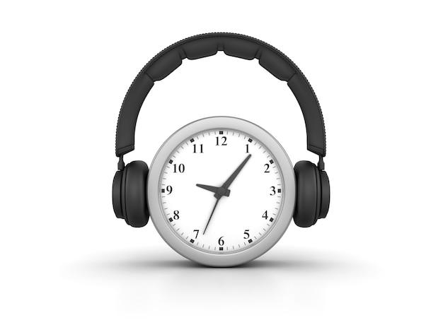 Representación de la ilustración del reloj con auriculares