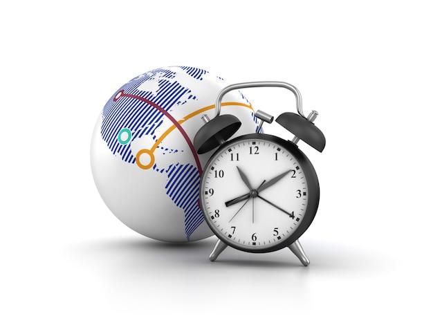 Representación de la ilustración del reloj con globe world
