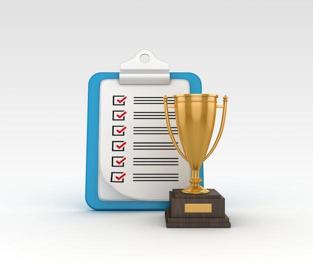 Representación de la ilustración del trofeo con portapapeles de lista de verificación