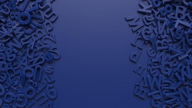 Representación de las letras del alfabeto azul 3d sobre fondo azul.