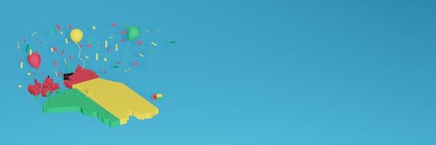 Representación de mapa 3d de la bandera de guinea bissau para redes sociales y portada web