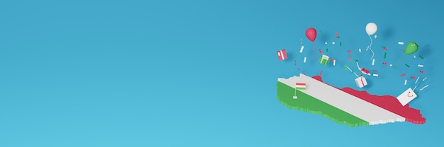 Representación de mapa 3d de la bandera de hungría para celebrar el día nacional de las compras y el día de la independencia