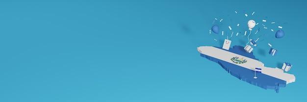 Representación de mapa 3d de la bandera de el savador para celebrar el día nacional de las compras y el día de la independencia
