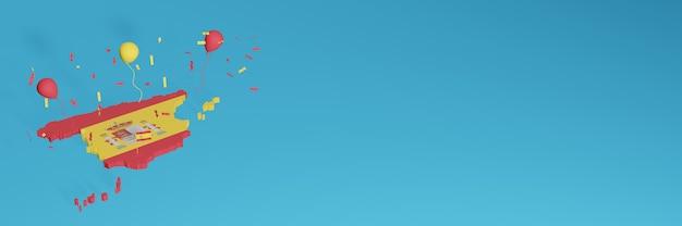 La representación del mapa 3d en combinación con la bandera de españa para las redes sociales y el fondo del sitio web agregado cubre globos rojos amarillos para celebrar el día de la independencia y el día nacional de las compras