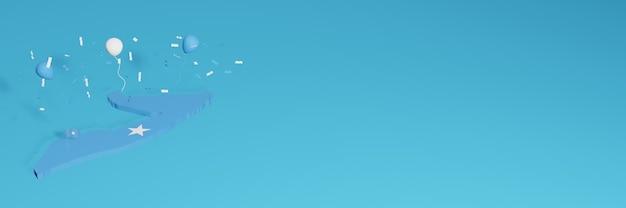 Representación de mapa 3d combinada con la bandera del país de somalia para redes sociales y cubierta de fondo de sitio web agregada globos azules amarillos para celebrar el día de la independencia y el día nacional de las compras